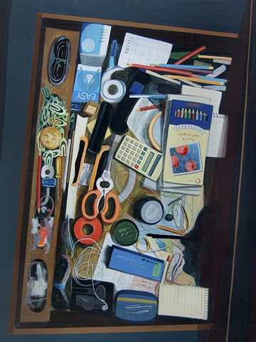 Painting of a desk drawer by Jordan Buschur