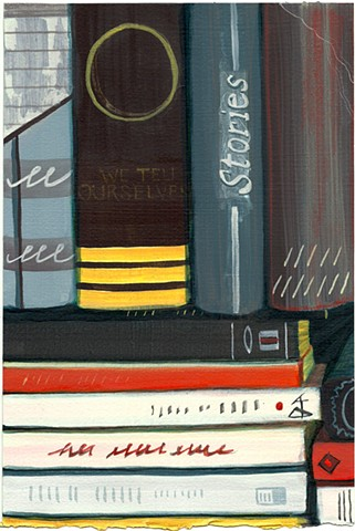 Jordan Buschur painting of books