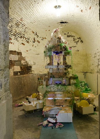 """Ruining Wonder: Compound Triggers"" Mixed-media installation inside of Fort Jay on Governor's Island"