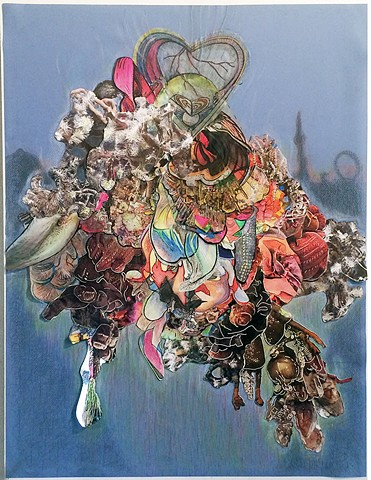mixed media drawing using collaged images of sculptural details