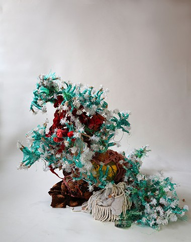 """Homesick for a Holiday Hangover"" mixed-media sculpture / installation by Alicia Renadette"