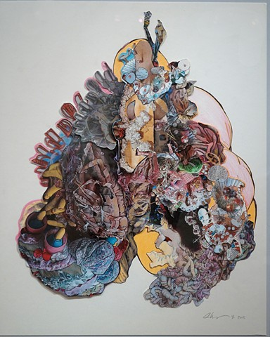 mixed media drawing using collaged images of sculptural details and colored pencil