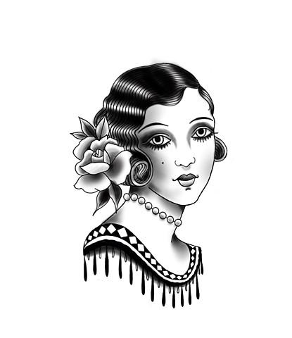 Lady head black and greyby Sandra Burbul