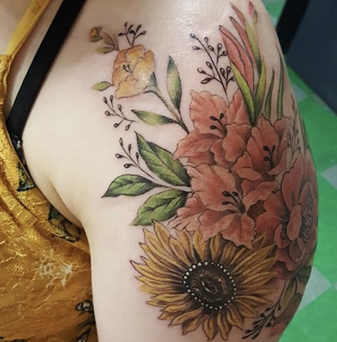 Sunflower Gladiolus tattoo by Sandra Burbul