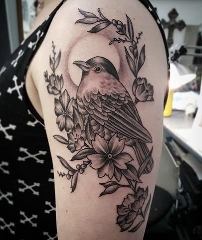 Merle Bird Tattoo by Sandra Bubrul