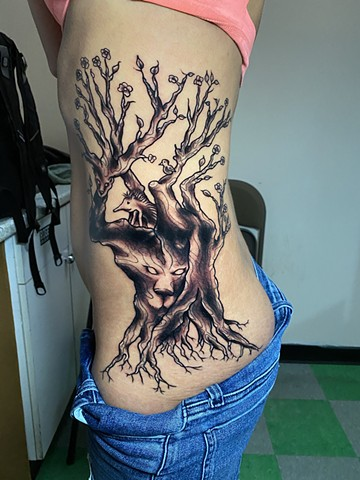 freehand tree of life cover up