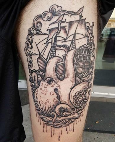 Scrimshaw tattoo by Sandra Burbul