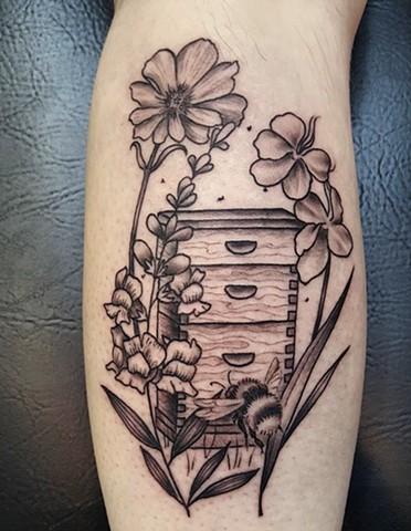 Beehive Botanical tattoo by Sandra Burbul