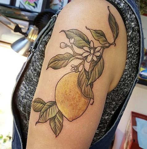 Lemon tattoo by Sandra Burbul