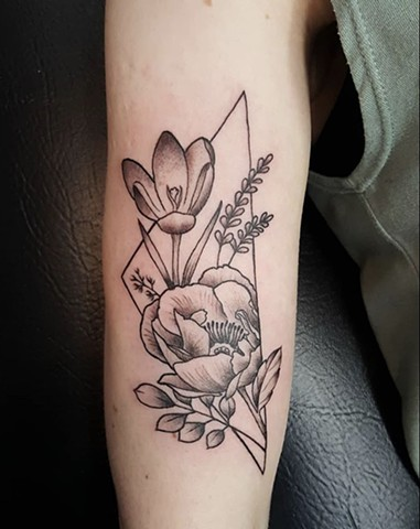 Botanical geometry tattoo by Sandra burbul