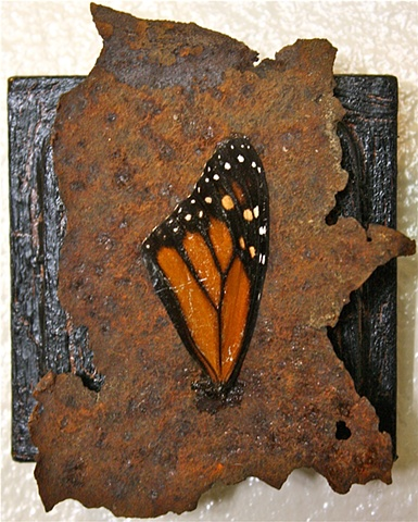 monarch wing art found object art recycled environmental