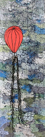 Art recycled hot air balloon Long haired girl peers down below from amongst the clouds inside her bright red hot air balloon