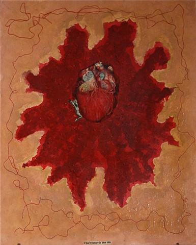 heart, cardiac, skin, recycled object, gold frame, acrylics, canvas board