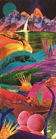 Brightly colored vibrant otherworldy landscape with waterfall