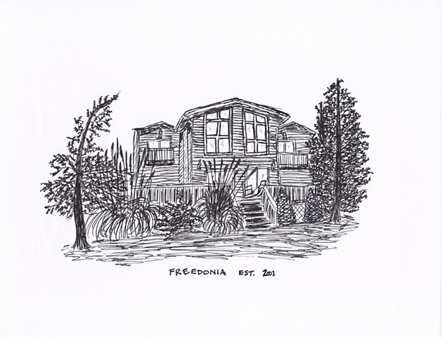 commissioned drawing of a client's home in Nebraska