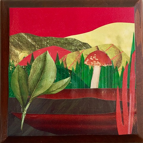 Part of my Otherworldly Landscapes Series. Paper collage and acrylic on recycled wood.