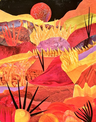 Otherworldly Landscapes Series. Paper and acrylic on recycled wood.