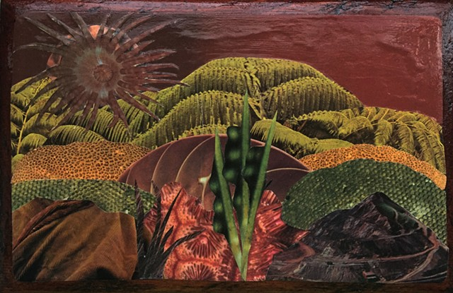 Part Otherworldly Landscapes Series. Paper and acrylic on recycled wood. prehistoric