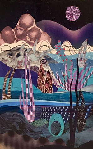 Part of my Otherworldly Landscapes Series. Paper collage, acrylic on recycled wood.