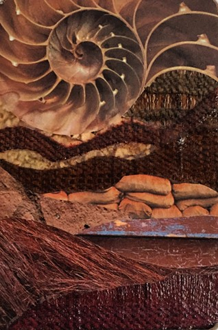 Part of my Otherworldly Landscapes Series. Paper collage, recycled textiles and acrylic on recycled wood.