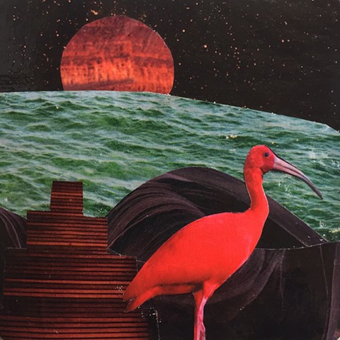 Part of my Otherworldly Landscapes Series. Paper collage on recycled board. Ibis pyramid