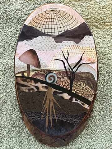 Part of my Otherworldly Landscapes Series. Paper collage, plastic and acrylic on recycled wood.