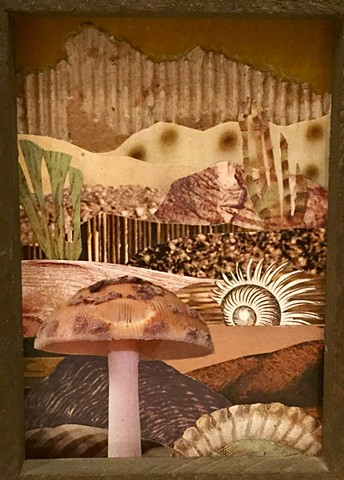 Part of my Otherworldly Landscapes Series. Paper collage and acrylic on recycled wood. mushroom