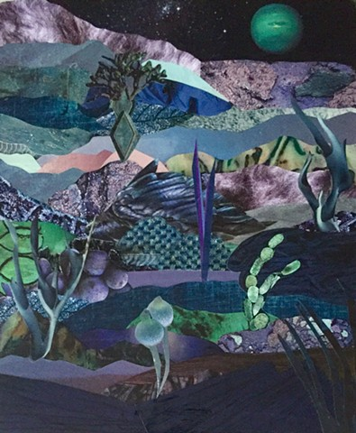 Otherworldly Landscapes Series. Paper collage and acrylic on recycled wood.