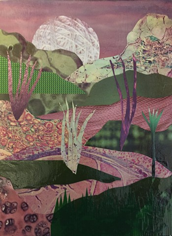 Otherworldly Landscapes Series. Mixed Media Collage.