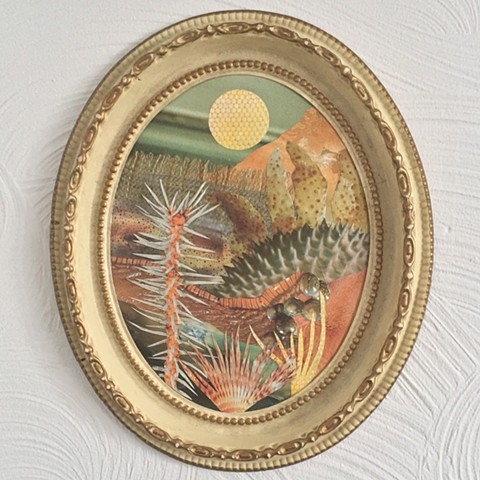 Part of my Otherworldly Landscapes Series. Paper collage in recycled vintage frame