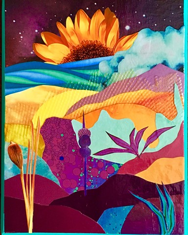 Otherworldly Landscapes Series. Paper, plastic and acrylic on recycled wood. Sunflower