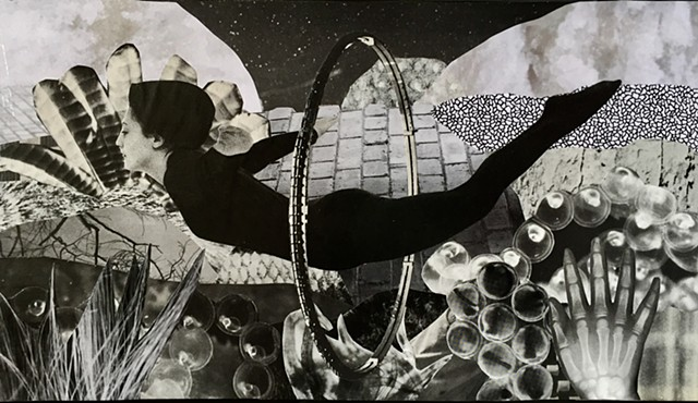 Otherworldy Landscapes Series. Paper Collage on Recycled Wood. Black and White