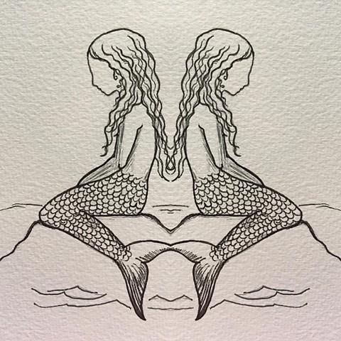 Ink on Paper. mermaids