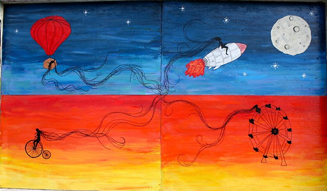 Downtown Santa Barbara Public Mural, acyrlic on wood panel ($500 for each panel, $1800 for all 4)