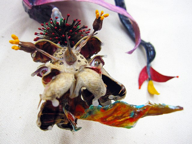 fantasy, animal imagery, surealism, symbolism,organic, detritus,found objects,painting,mixed media, sculpture