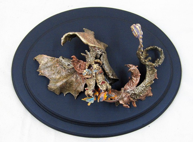 """Flaming Deciduous Dragon"" sculpture, bronze casting,fantasy animal theme, lost wax castings, mixed media sculpture"