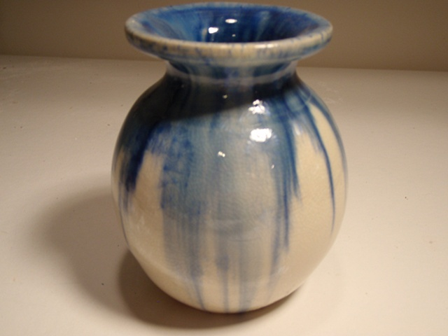 Blue and White Crystalline Vase