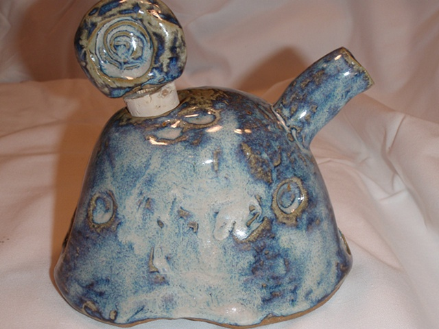 Oil or soy pitcher gas-fired rutile blue with unique cork decoration