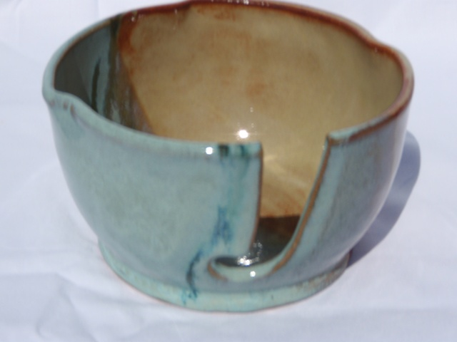Gold and Aqua Yarn Bowl Large