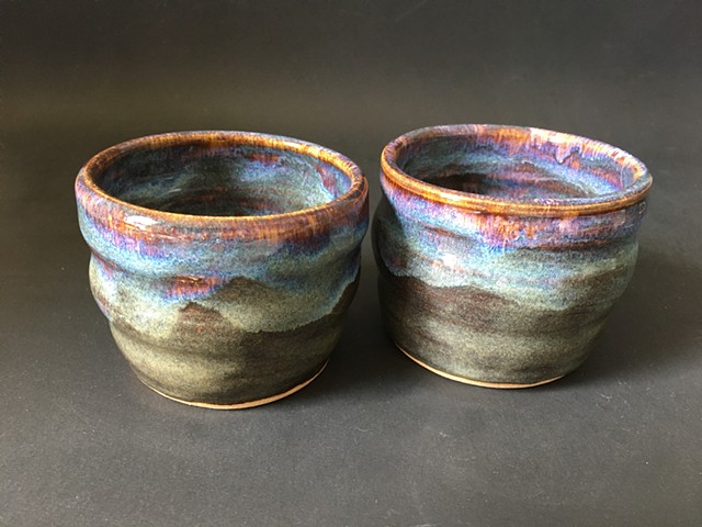 Rainbow brown espresso cups