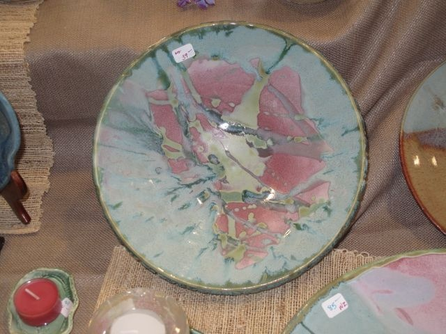 Stoneware pottery, rose and aqua serving dish also a beautiful decoration edition to your home