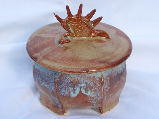 hand made stoneware and cone 6 glaze combine to make this unique small spike top box