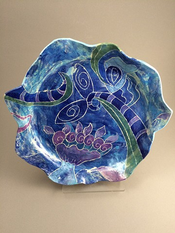 Unique, Ceramic, Serving Platter, Abstract design, Handpainted, Food safe, Handmade