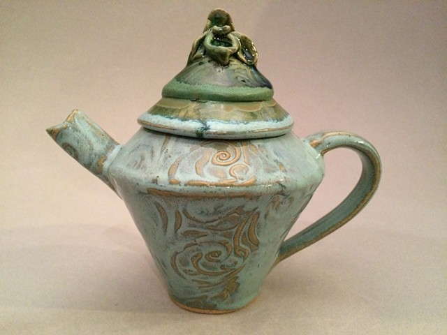 Orchid, Ceramic Teapot, Functional, Food Safe, Handmade, Green Glazes