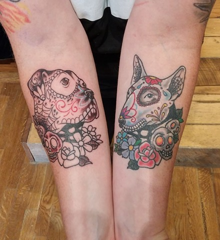 Day of the Dead Dogs / Sugar Skull Dogs healed and in progress