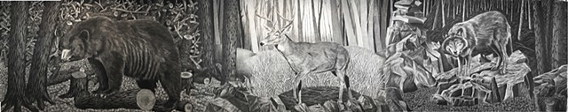 Large drawing of Michigan landscape wildlife deer bear wolf