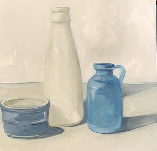 White and Blue Objects