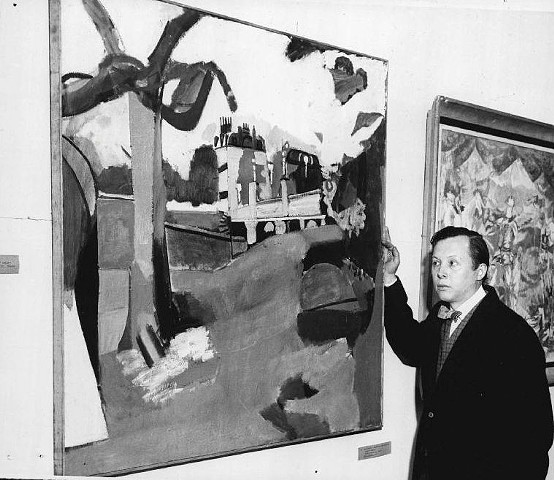 "Photograph of Jason Berger next to his Grand Prize for Painting, ""Boston Public Garden"", Boston Arts Festival. 1955"