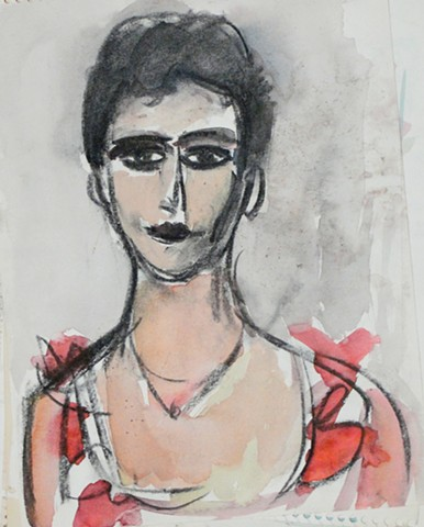 """Female with Red Bows"". This early drawing by Jason Berger is drawn in the style of Max Beckman. To  understand an artist, students were encouraged to emulate them."