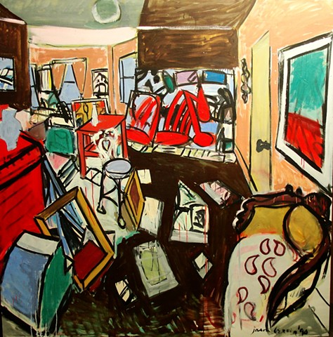 Interior, University Road, Boatyard painting,1990
